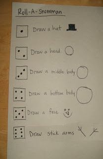 Math game: 2 dice, with the product of the dice. 2 player game, first person to draw a whole snowman wins! WOuld be fun to think of other things to draw