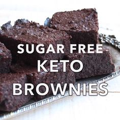 The fudgiest, most chocolatey Keto brownies ever. This simple low carb and sugar The fudgiest, most chocolatey Keto brownies ever. This simple low carb and sugar free recipe makes perfect brownies time after time. Gluten free and diabetic-friendly. Desserts Keto, Sugar Free Desserts, Sugar Free Recipes, Low Carb Recipes, Dessert Recipes, Paleo Recipes, Baking Recipes, Diabetic Friendly Desserts, Sugar Free Diet
