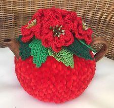 Handmade Tea Cozy Holiday Poinsettia Red From Ukrainian Designer