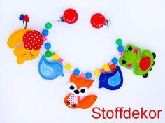 Kinderwagenkette Elefant, Vogel, Fuchs, Frosch von Stoffdekor auf DaWanda.com