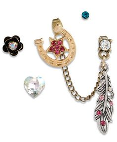 Betsey Johnson Earring Set, Set of 5 Gold Tone Feather and Horse Shoe Stud Earrings - Fashion Jewelry - Jewelry & Watches - Macy's