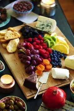 Tabla de fruta y queso.