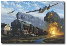 AVIATION ART HANGAR - No Trains Today by Stan Stokes (A-26)