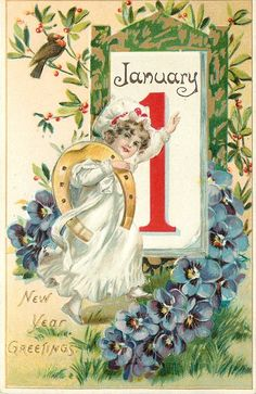 NEW YEAR GREETINGS  girl faces front with left hand on calendar, gold horseshoe on right arm, robin upper left