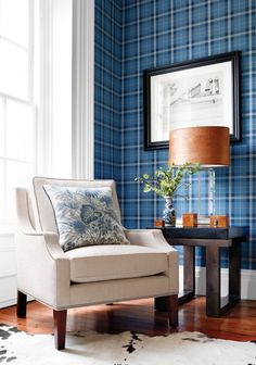 Winslow Plaid Wallpaper from Thibaut Menswear Resource Collection. A tartan wallpaper in chestnut and taupe with thin burgundy stripes. Living Room Chairs, Scottish Decor, Decor, Wallpaper Trends, Interior Design, Furniture, Home, Interior, Plaid Wallpaper