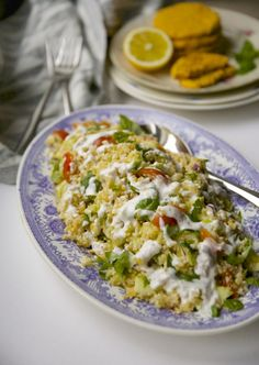 cauliflower quinoa salad with lentils and coconut sauce