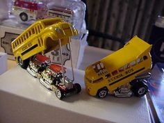 Milk truck and Drag bus S'Cool buses. Toys R Us Kids, Toys For Boys, Boy Toys, Custom Hot Wheels, Weird Cars, Old Models, Hot Rods, Diecast, Cool Stuff