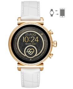439cca57af25 Michael Kors Access Women s Sofie Heart Rate Embossed White Silicone Strap  Touchscreen Smart Watch 41mm -