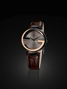Gucci Interlocking watch large 18kt pink gold and PVD case Cool Watches, Dream Watches, Luxury Watches, Watches For Men, Men's Watches, Gucci Watch, Gucci Gucci, Gucci Men, Vintage Gucci