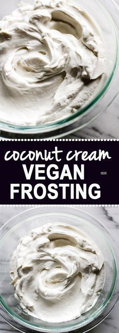 How to Make Gluten Free Fluffy Coconut Cream Vegan Frosting! It literally takes 2 ingredients and just one method. This coconut cream vegan frosting is super delicious, healthy, paleo friendly, and did I mention EASY? SIMPLE to make /cottercrunch/ Healthy Vegan Dessert, Vegan Treats, Healthy Sweets, Vegan Foods, Vegan Dishes, Paleo Vegan, How To Vegan, Vegan Take Out, Vegan Pie