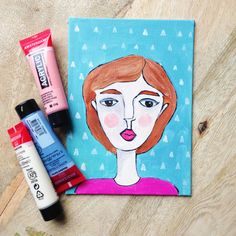 Original painting of a portrait of a woman - with triangle pattern door XantheCS op Etsy