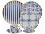 Aparelho de Jantar 42 Peças Oxford Porcelana - Redondo Branco e Azul Lusitana