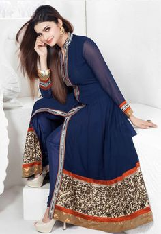 Blue Faux Georgette Anarkali Churidar Kameez Online Shopping: KEG44