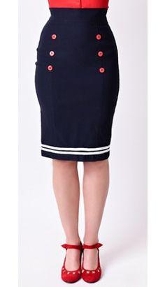 Retro Style Nautical Navy High Waist Stretch Seafarer Wiggle Skirt