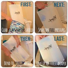 Pre-rinse cloth diapers the easy with a Spray Pal diaper sprayer and shield!  www.spray-pal.com