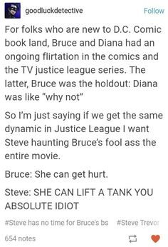 This is literally the only way I will ever accept WonderBat in the movieverse. I want Chris Pine as a ghost calling Bruce out on any of his sexist bullshit. Like, in the middle of a fight scene, Bruce is trying to protect Diana (who has it covered, thank Batman Meme, I Am Batman, Gotham Batman, Batman Robin, John Barrowman, Nananana Batman, Dc Memes, Dc Comic Books, Dc Characters