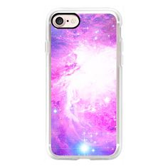 Colorful Pastel Pink Nebula Purple Galaxy Stars - iPhone 7 Case,... (56 NZD) ❤ liked on Polyvore featuring accessories, tech accessories, iphone case, slim iphone case, galaxy iphone case, purple iphone case, apple iphone case and iphone cover case