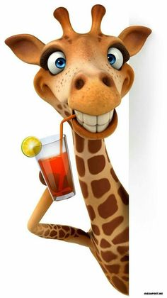 Cute and Funny Giraffe Animal Paintings, Animal Drawings, Cute Drawings, Animals And Pets, Funny Animals, Cute Animals, Cartoon Pics, Cute Cartoon Wallpapers, Funny Animal Pictures