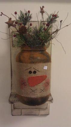 Snowman mason jar craft                                                                                                                                                                                 More