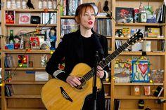 "Suzanne Vega: NPR Music Tiny Desk Concert w/ guitarist and producer, Gerry Leonard - Set List - ""Luka"", ""Crack In The Wall"", ""I Never Wear White"", ""Tom's Diner"""