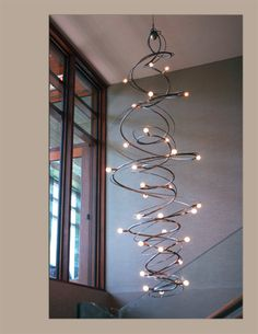 Hand sculpted chandeliers, Nature inspired, modern, woven steel and custom lighting. Stairwell Chandelier, Hallway Lamp, Chandelier Bedroom, Chandelier Lighting, High Ceiling Lighting, Entry Lighting, Rustic Lighting, Chandelier Makeover, Home Lighting Design