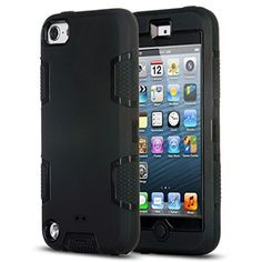 ULAK Hybrid 3 Layer Silicone Hard Case Cover for iPod Touch 5 6th Gen(Black)
