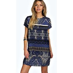 Boohoo Nina Woven Paisley Shift Dress ($26) ❤ liked on Polyvore featuring dresses, blue, floral dresses, polka dot dress, floral midi dress, maxi dresses and bohemian dresses