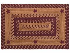 IHF Home Decor Star Wine Design Braided Rectangular Rugs Jute Fabric Wine With Tan Color
