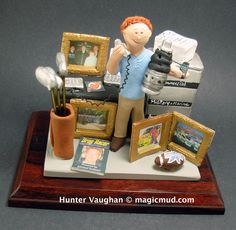 Custom gift figurine for a businessman  www.magicmud.com 1 800 231 9814 creating a custom made gift figurine for any man based on the things he likes to do! ...incorporating his work, sports, family, hobbies, food, drink, electronic gadgets, etc. $225 Office_gift #businessmans_gift #dad #men #guys #christmas #birthday #anniversary #custom #personalized #xmas #present #award #ChristmasGift #BirthdayGift #husband
