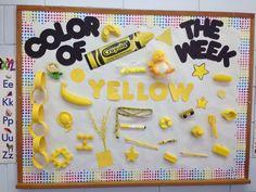 Preschool bulletin board color of the month idea Preschool Bulletin Boards, Classroom Fun, Preschool Classroom, Classroom Activities, Toddler Activities, Holiday Classrooms, Kindergarten, Preschool Lessons, Preschool Learning