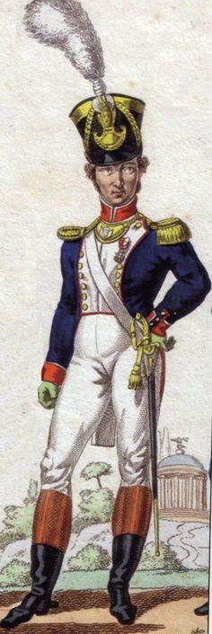 Officier d'infanterie de Ligne, Première Restauration, 1814-1815 par Genty