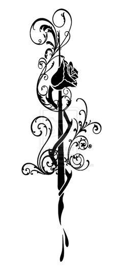 rose quill pen tattoo by Malicious-nightmare.deviantart.com