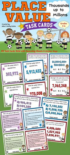 Place Value Task Cards {Thousands up to Millions}. Contains 2 sets of task cards - 88 Task Cards total! This is perfect for Grade 4 but may also be used as a review material for Grade 5 and for more advanced Grade 3 students $