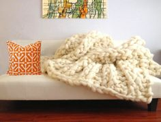 """Ask Aunt to make this for me!!! in 2014!Massive! Chunky Knit Throw Handmade Wool Blanket 84"""" x 120"""" Not Anthropologie"""