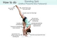 Standing splits are a good way to improve flexibility and lengthen hamstrings and hip flexors. The key here is not to focus on how high you can lift the back leg. Rather it's more important to focus on making sure the standing leg kneecap stays facin Yoga Flow, Yoga Meditation, Zumba, Split Yoga, Standing Split, Standing Yoga, Wie Macht Man, Yoga Posen, Yoga Tips