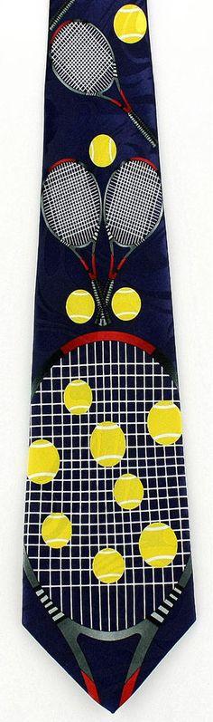 New Tennis Mens Necktie Game Racquet Ball Net Player Set Court Sports Neck Tie #StevenHarris #NeckTie