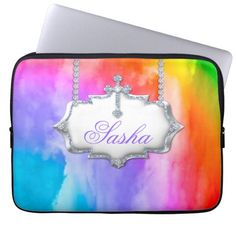 Choose from a variety of Cool laptop sleeves or make your own! Shop now for custom laptop sleeves & more! Laptop Case, Ipad Case, Custom Laptop, Laptop Sleeves, School Binders, Back To School, Monogram, Rainbow, Cool Stuff