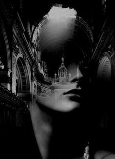 Black and white contemporary art Double Exposition, Statue Tattoo, Girl Face Drawing, Double Exposure Photography, Macabre Art, Multiple Exposure, Surreal Art, White Art, Photo Manipulation