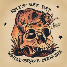 Skull And Rat Sailor Jerry Tat. is listed (or ranked) 2 on the list Sailor Jerry Tattoo Ideas Sailor Jerry Flash, Tatto Old, Rat Tattoo, Punk Tattoo, Ed Hardy Tattoos, Old School Design, Old School Tattoo Designs, Traditional Tattoo Design, Traditional Tattoo Flash