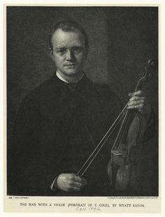 The man with a violin (portrait of T. Cole). From New York Public Library Digital Collections.