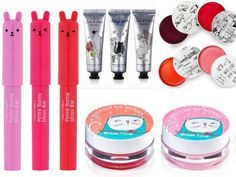 Counterclockwise from left: Tony Moly Petite Bunny Gloss Bars, Too Cool for School BreakTime Lip Tint Balm, Too Cool for School's Dinoplatz Lip Balm, Too Cool For School Cat Streets Hand Cream Korean Lip Tint, Korean Lips, Korean Makeup, Korean Beauty, Asian Beauty, Cute Makeup, Beauty Makeup, Best Makeup Products, Beauty Products