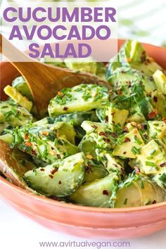 A simple, lemony, avocado-creamy, crunchy and fresh Cucumber Avocado Salad that's really quick and easy to make. It's got all the cool 'n creamy avocado goodness going on! Avocado Toast, Cucumber Avocado Salad, Cucumber Recipes, Healthy Salad Recipes, Vegetarian Recipes, Recipes With Avocado, Healthy Meals, Ripe Avocado, Avocado Dessert