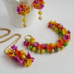 Flowers . Jewelry set . Sharm set . Flower by LukyanenkoLyubov