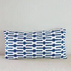 Blue Links Geometric Print Brown White Decorative Pillow Cover Sofa Lumbar Pillow 10x20 12x20 12x24