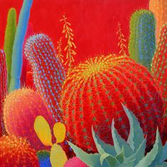 Contemporary Cacti  Oil Painting Cactus Painting   Bold Colors  