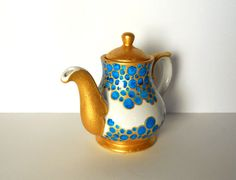 Little white Teapot with turquoise bubbles and gold