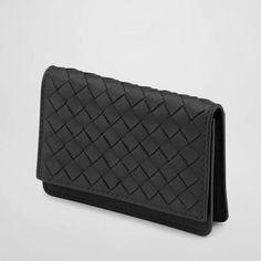 Nero Intrecciato Nappa Card Case style 133945 V001U 1000 Bottega Veneta Card Case $330