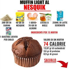 Muffin light al cacao Light Cakes, Biscotti, Light Desserts, Breakfast Snacks, Fake Food, Love Eat, Sweets Recipes, Light Recipes, Creative Food