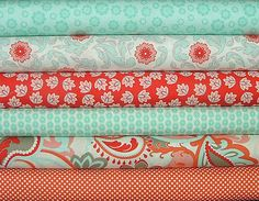LAST ONE Fat Quarter Bundle of Verona in Red & Teal by Emily Taylor Design for…