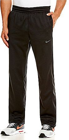 From Nike, these basketball pants feature: soft Therma-FIT fleece that feels soft against the skin and helps keep you warm loose fit for mobility gripper elastic waistband with drawcord for a secure fit printed side panels cordlock bungees at hems for an adjustable fit polyester Imported.
